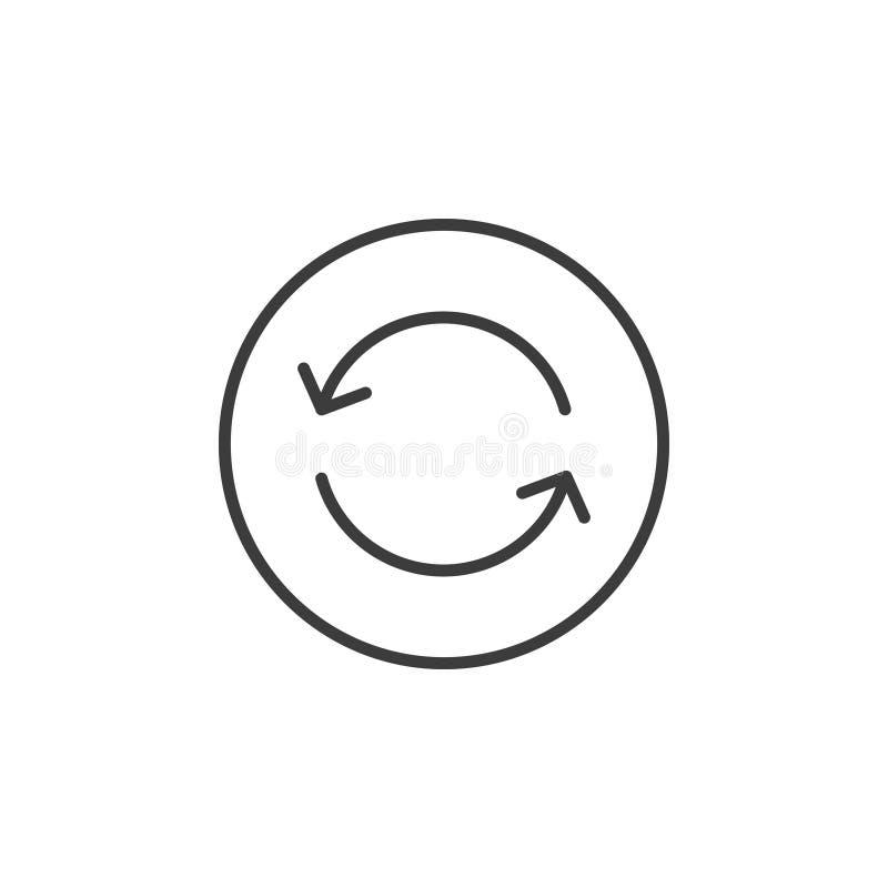 Linje konstsymbol av uppdateringpilar i den runda ramen vektor illustrationer