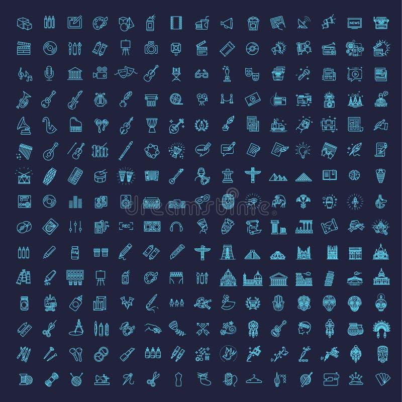 Linje konstsymbolsuppsättning 225 linjära symboler royaltyfri illustrationer
