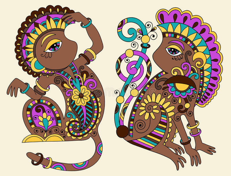 Linje konstteckning av etnisk apa två vektor illustrationer