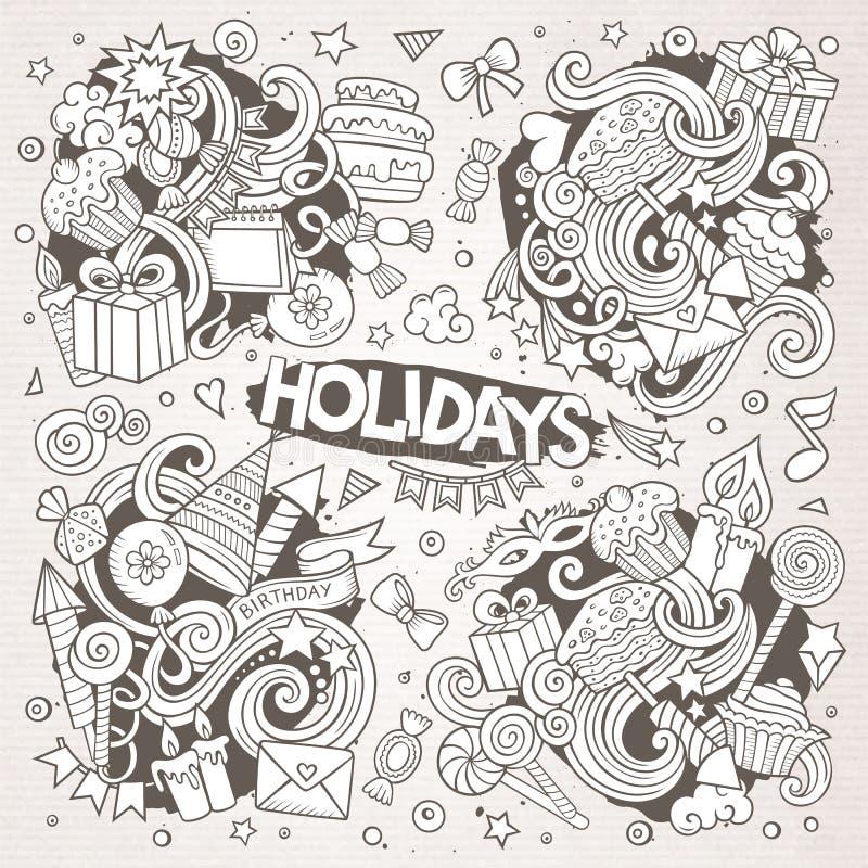 Linje konstuppsättning av ferieklotterdesigner stock illustrationer