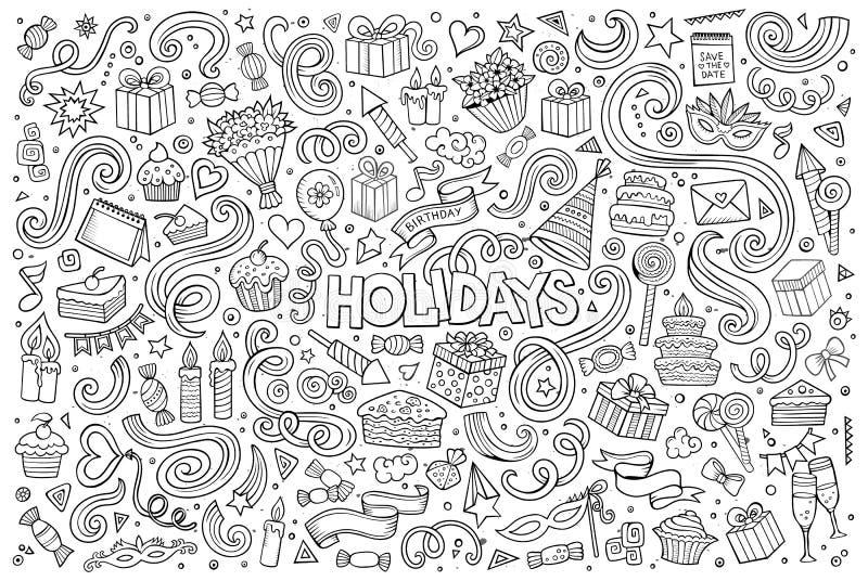 Linje konstuppsättning av ferieobjekt stock illustrationer