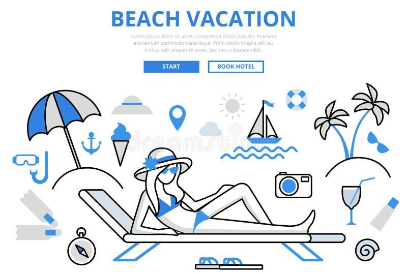 Linje konstvektorsymboler för lägenhet för begrepp för strandsemester tropisk royaltyfri illustrationer