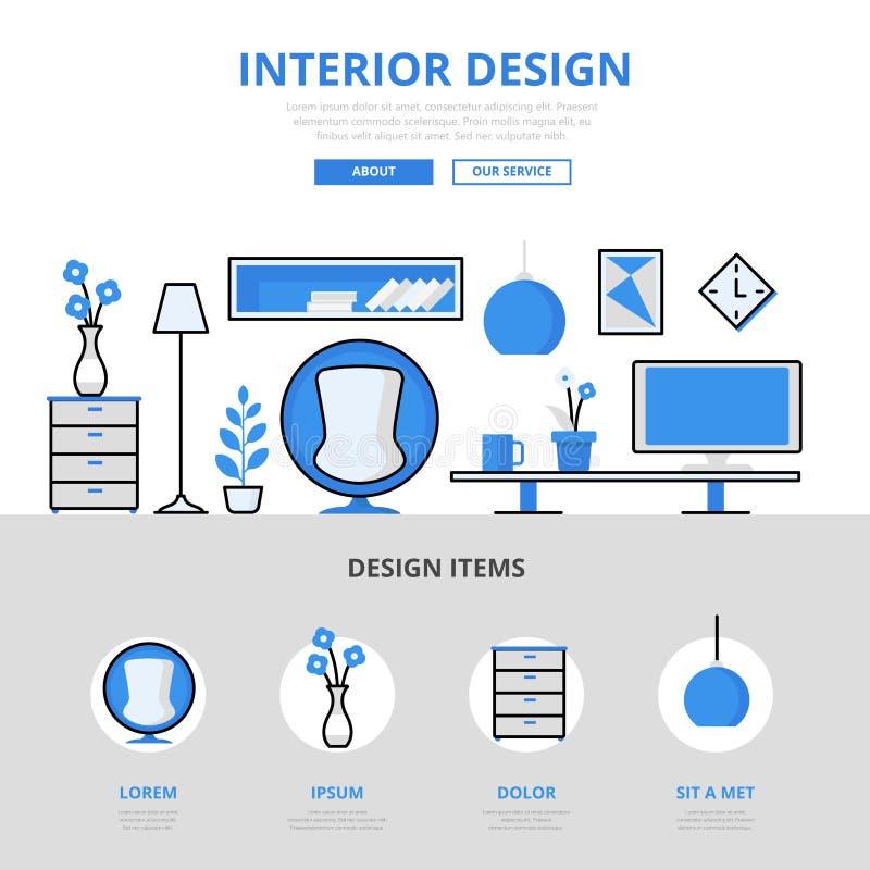 Linje konstvektorsymboler för lägenhet för begrepp för studio för inredesign stock illustrationer