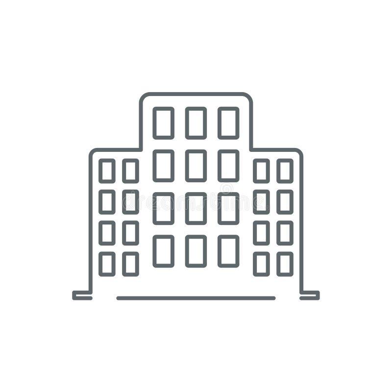 Linje kontorsbyggnadsymbol vektor illustrationer