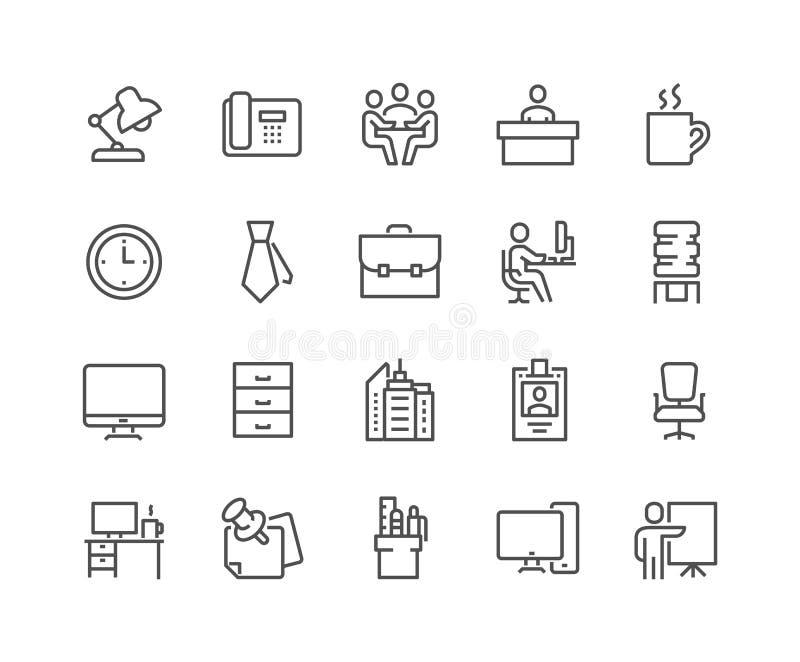 Linje kontorssymboler vektor illustrationer