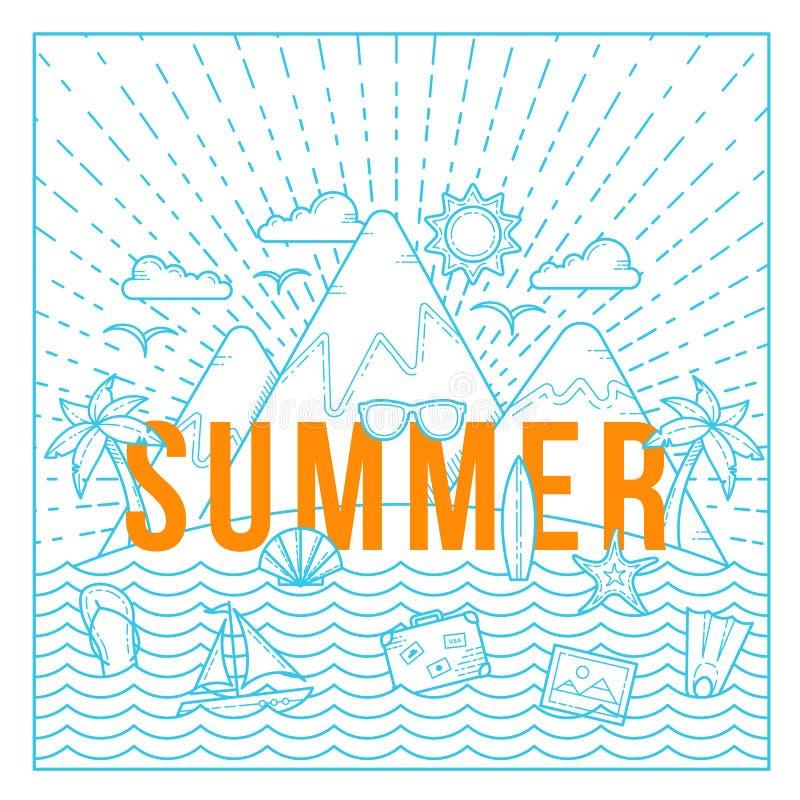 Linje kort för sommar för stillägenhetvektor eller bakgrundsmall med ön, havet, berg, Palmtrees och loppsymboler vektor illustrationer