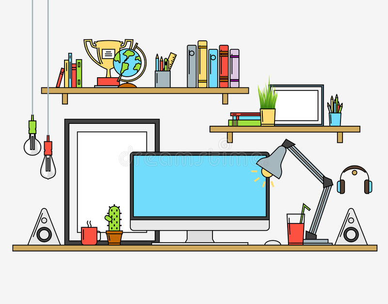 Linje lägenhetdesignåtlöje upp av modern workspace Vektorillustrationaffischer, lampa, blyertspennor, jordklot, vinnarekopp, bane vektor illustrationer