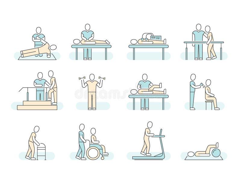 Linje läkarundersökningsymboler för vektor för sjukgymnastik för massageterapibrunnsort Terapeutiska symboler vektor illustrationer