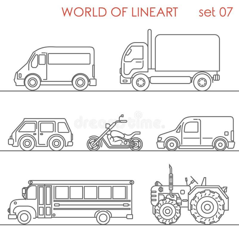 Linje lineart för skolbuss för traktor för moto för väg för konsttransport flyg- vektor illustrationer