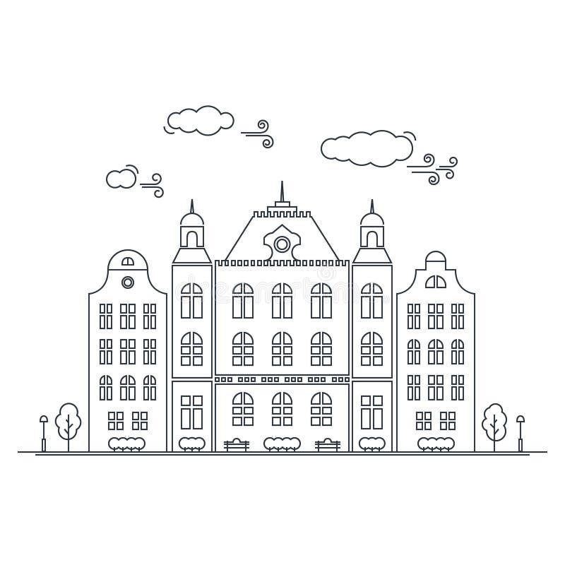 Linje liten stad Linjär cityscape med gamla radhus, liten stadgata med byggnadsfasader fodrar gammala amsterdam vektor illustrationer