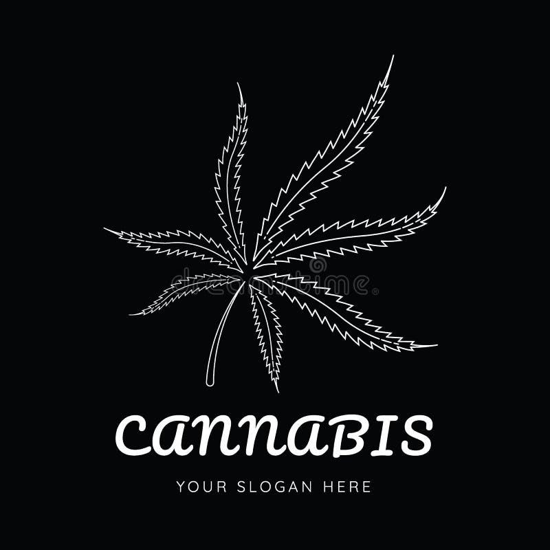 Linje logo för blad för marijuanavektorcannabis royaltyfri illustrationer