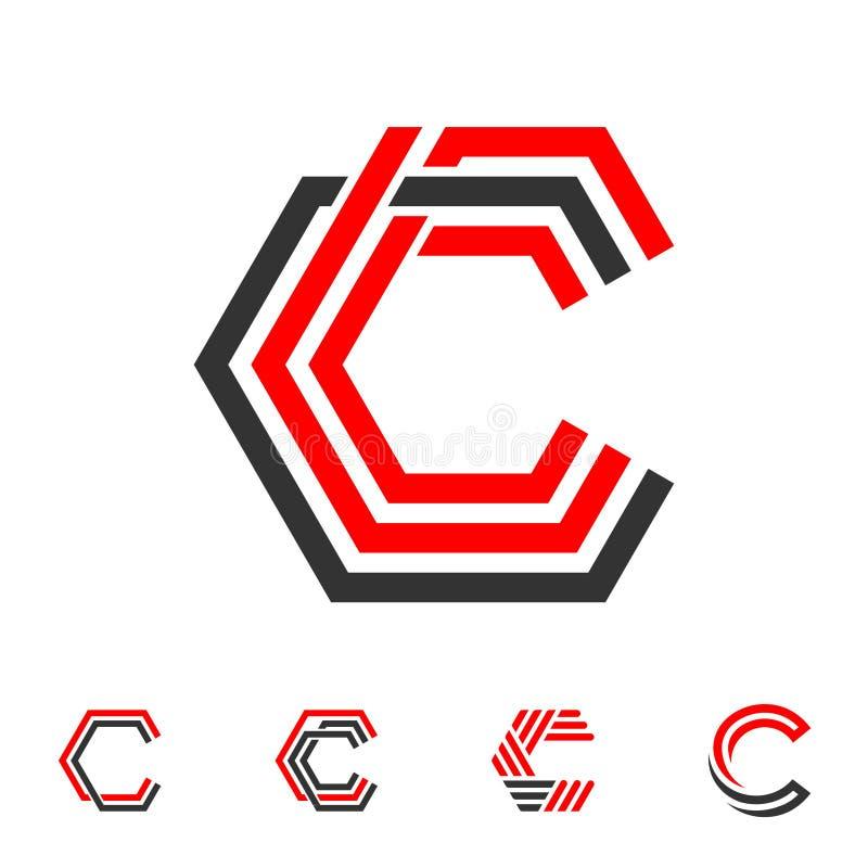 LINJE LOGO FÖR BOKSTAV C vektor illustrationer