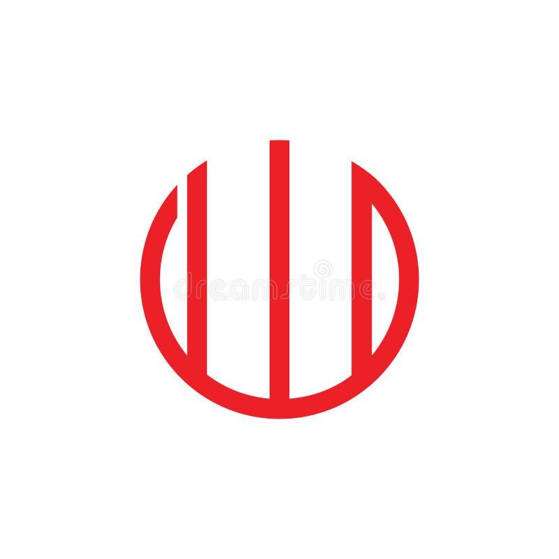 Linje logovektor för cirkel för w för abstrakt bokstav enkel geometrisk stock illustrationer