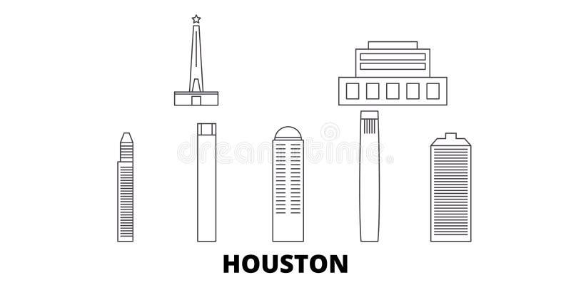 Linje lopphorisontuppsättning för Förenta staterna Houston För översiktsstad för Förenta staterna Houston illustration för vektor stock illustrationer