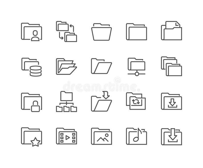 Linje mappsymboler stock illustrationer