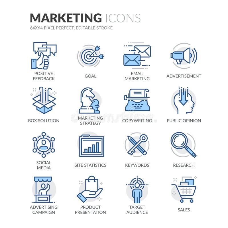 Linje marknadsföringssymboler stock illustrationer