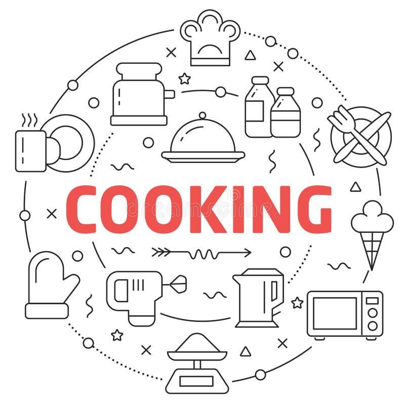 Linje matlagning för lägenhetcirkelillustration stock illustrationer