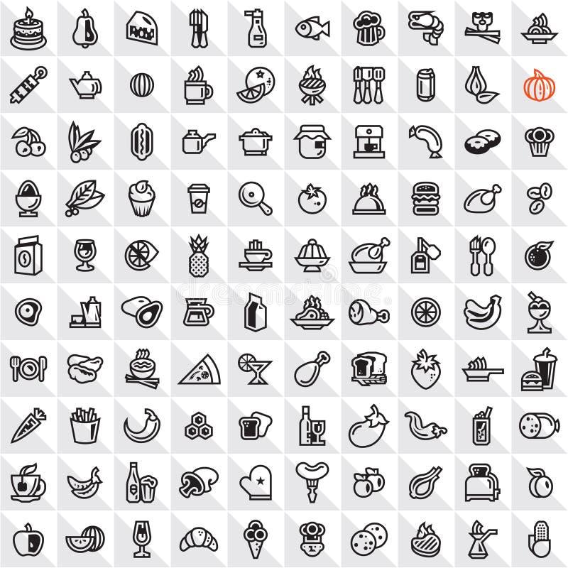 Linje matsymbolsuppsättning royaltyfri illustrationer
