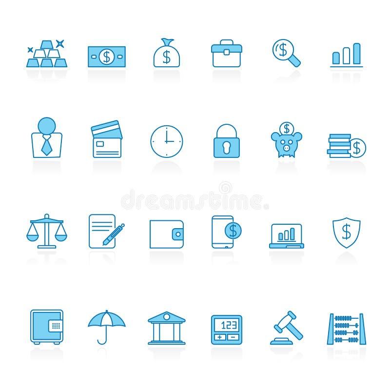 Linje med den blåa bakgrundsbanken, affär och finanssymboler vektor illustrationer