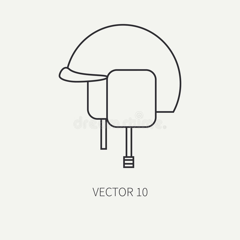 Linje militär symbol för plan vektor - arméhjälm Arméutrustning och vapen Tecknad filmstil _ anfall soldater royaltyfri illustrationer