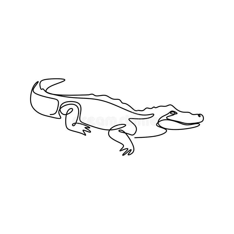 Linje minimalist design för alligator en för teckning royaltyfri illustrationer