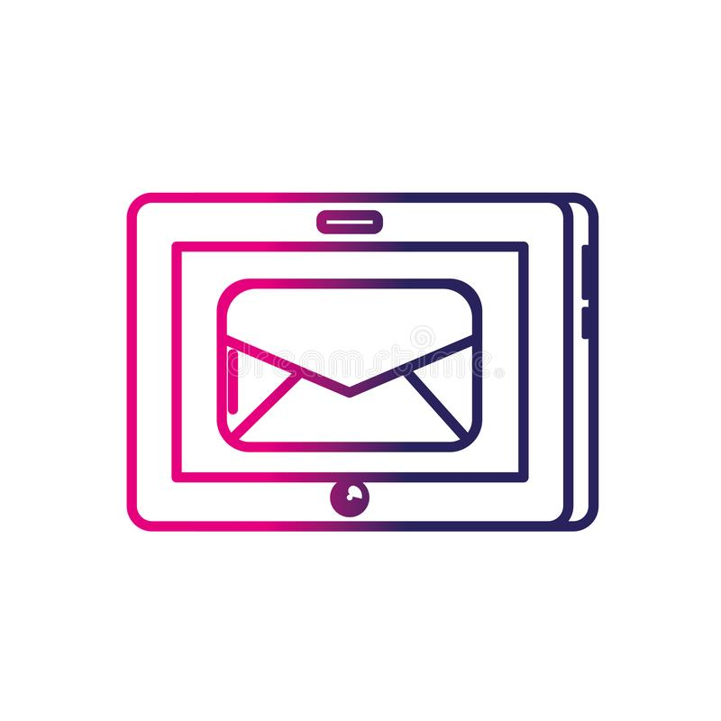 Linje minnestavlateknologi med mejlmeddelandet royaltyfri illustrationer