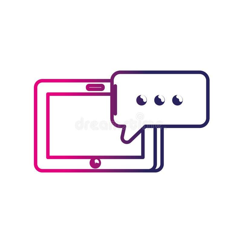 Linje minnestavlateknologi med pratstundbubblan stock illustrationer