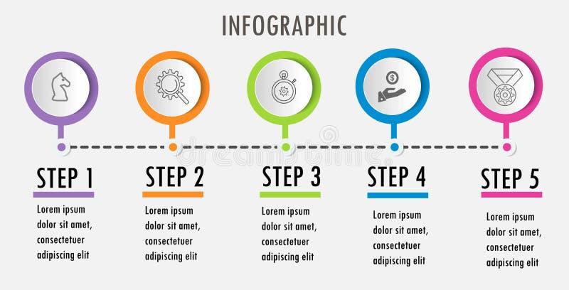 Linje minsta Infographic designmall royaltyfri illustrationer