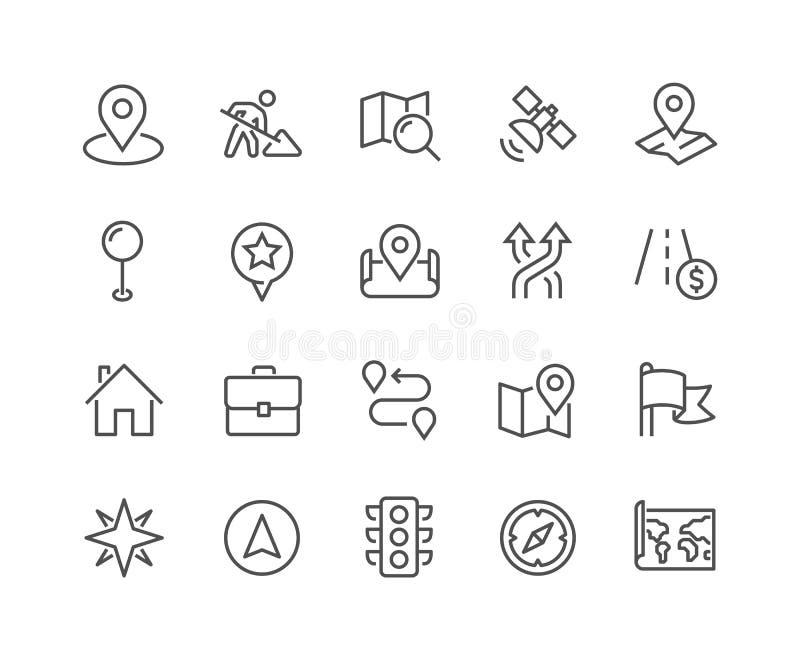 Linje navigeringsymboler vektor illustrationer