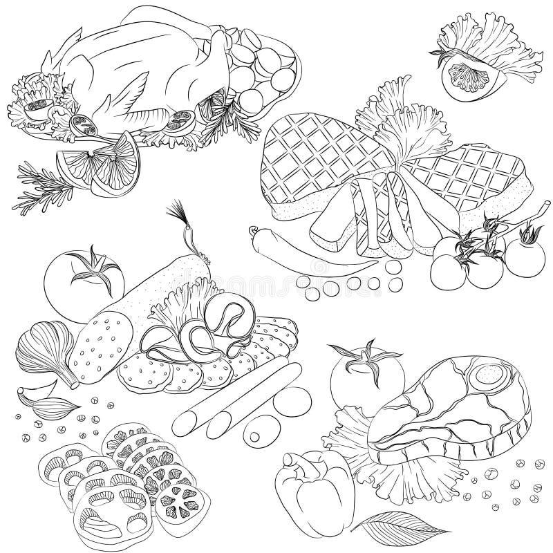 Linje olika köttprodukter för konst stock illustrationer