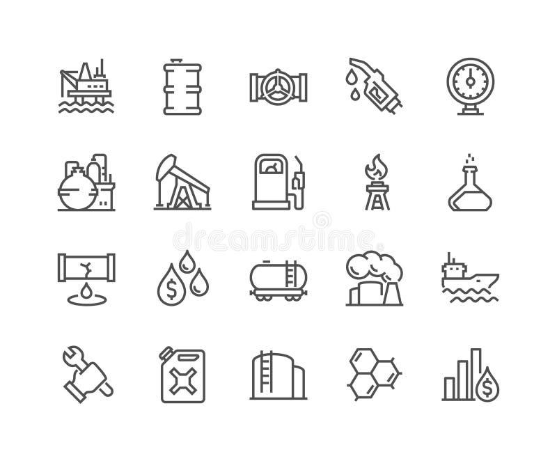 Linje olje- symboler royaltyfri illustrationer