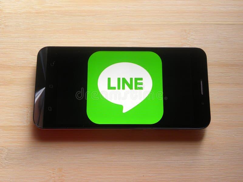 Linje på mobiltelefonen fotografering för bildbyråer