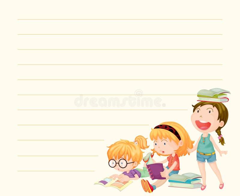 Linje pappers- mall med flickaläseböcker royaltyfri illustrationer