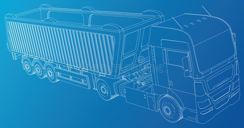 Linje person som ger dricks för lastbil för vektorkonstruktionsmaskineri Industriell stil Företags lastleverans Skapad illustrati royaltyfri illustrationer