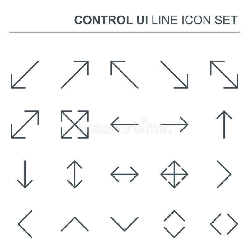 Linje pilsymboler för vektor för kontroll UI tunn Enkel minsta Pictogram stock illustrationer