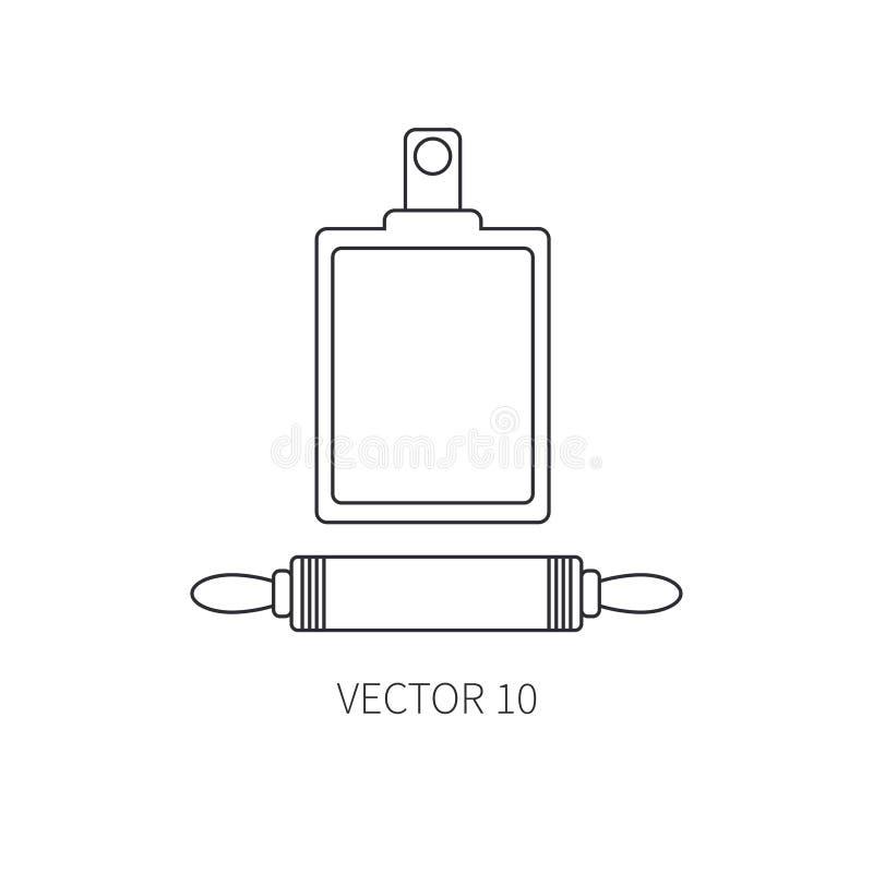 Linje plan dykare för vektorkitchenwaresymboler, skärbräda Bestickhjälpmedel Tecknad filmstil Illustration och beståndsdel för vektor illustrationer