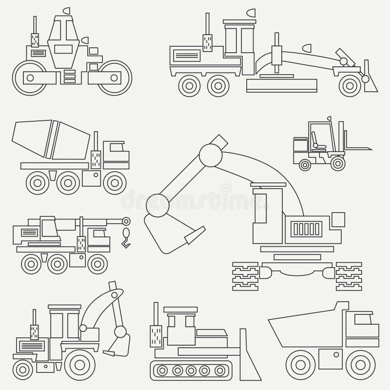 Linje plan uppsättning för maskineri för vektorsymbolskonstruktion med bulldozern, kran, lastbil, grävskopa, gaffeltruck, cementb stock illustrationer