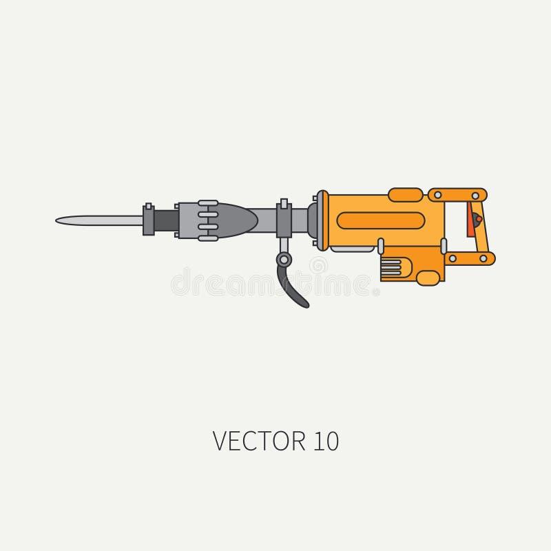 Linje plan vektorsymbol med byggande av den elektriska hjälpmedeltryckluftsborren Konstruktion och reparationsarbete Kraftigt ind royaltyfri illustrationer