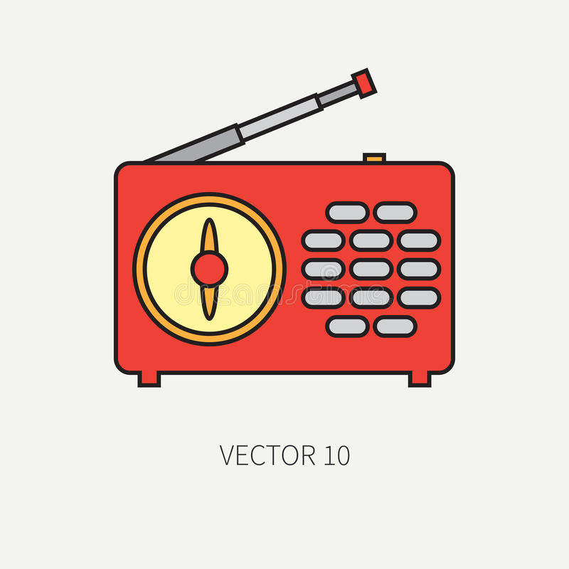 Linje plan vektorsymbol med den retro elektriska ljudsignal apparaten - radio MotsvarighetTV-sändningmusik Tecknad filmstil Nosta royaltyfri illustrationer