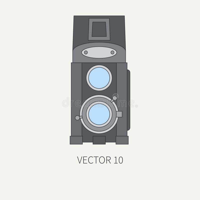 Linje plan vektorsymbol med retro parallella filmkameror Fotografi och konst Photocamera för reflex 35mm Tecknad filmstil stock illustrationer