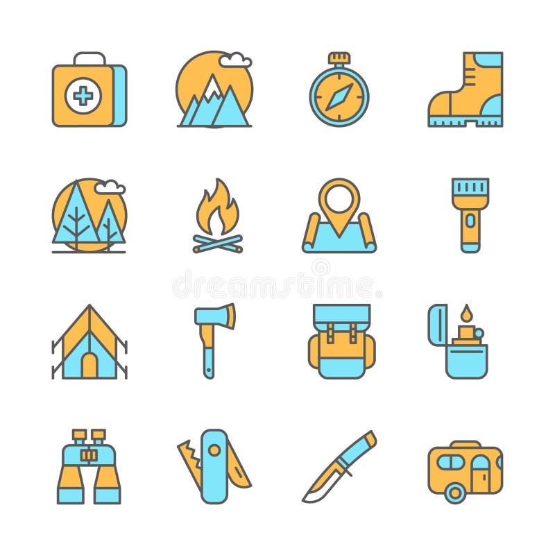 Linje plana symboler av campa utrustning som fotvandrar royaltyfri illustrationer