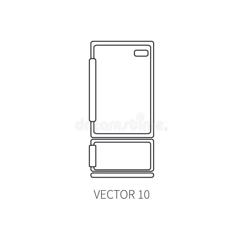 Linje plana vektorkitchenwaresymboler - kylskåp Bestickhjälpmedel Tecknad filmstil Illustration och beståndsdel för ditt royaltyfri illustrationer