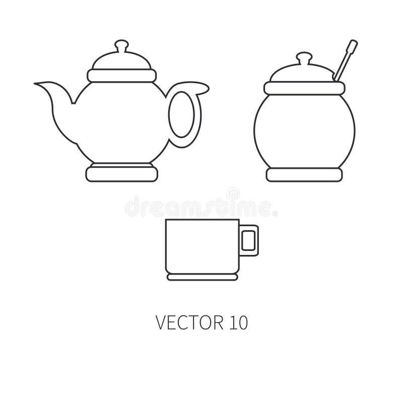 Linje plana vektorkitchenwaresymboler - tekanna, socker-bunke, kopp Bestickhjälpmedel Tecknad filmstil Illustration och beståndsd stock illustrationer