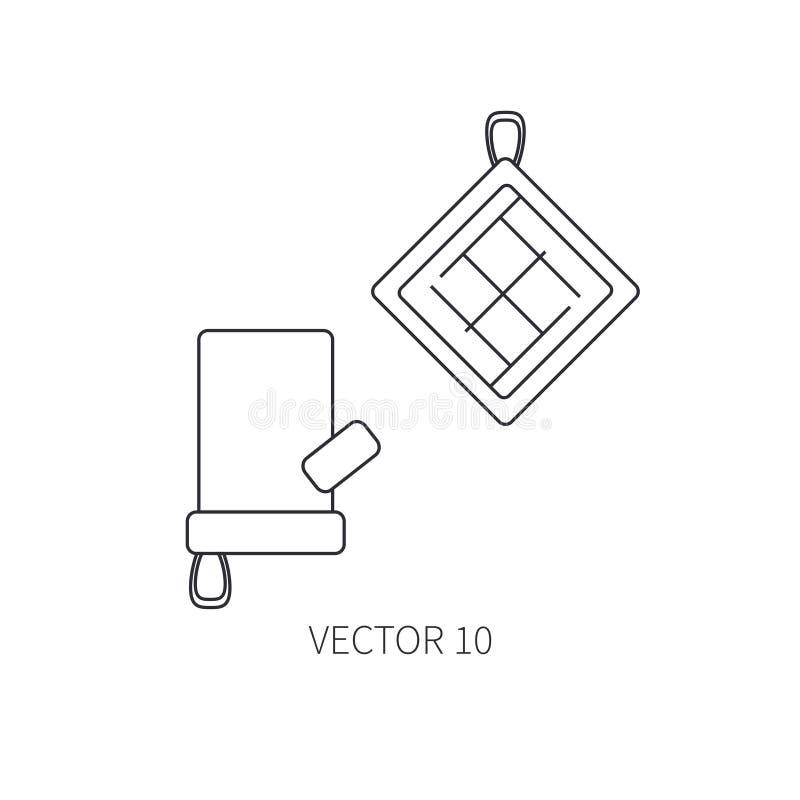 Linje plana vektorkitchenwaresymboler - ugn-handske Bestickhjälpmedel Tecknad filmstil Illustration och beståndsdel för din desig stock illustrationer