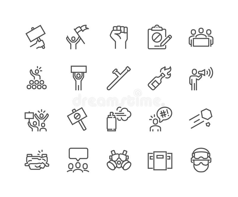 Linje protestsymboler stock illustrationer