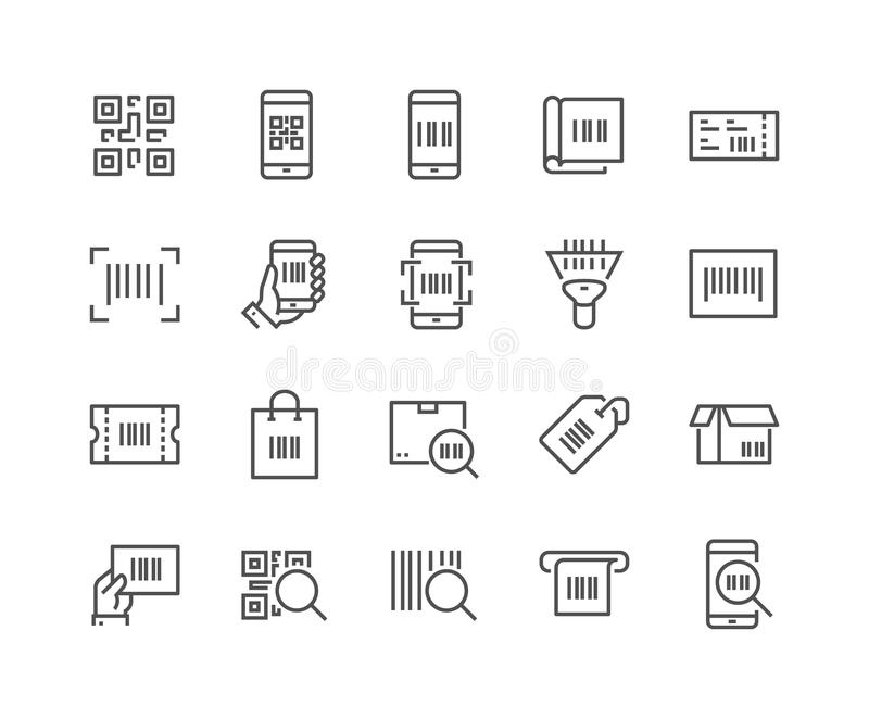 Linje QR-kodsymboler royaltyfri illustrationer