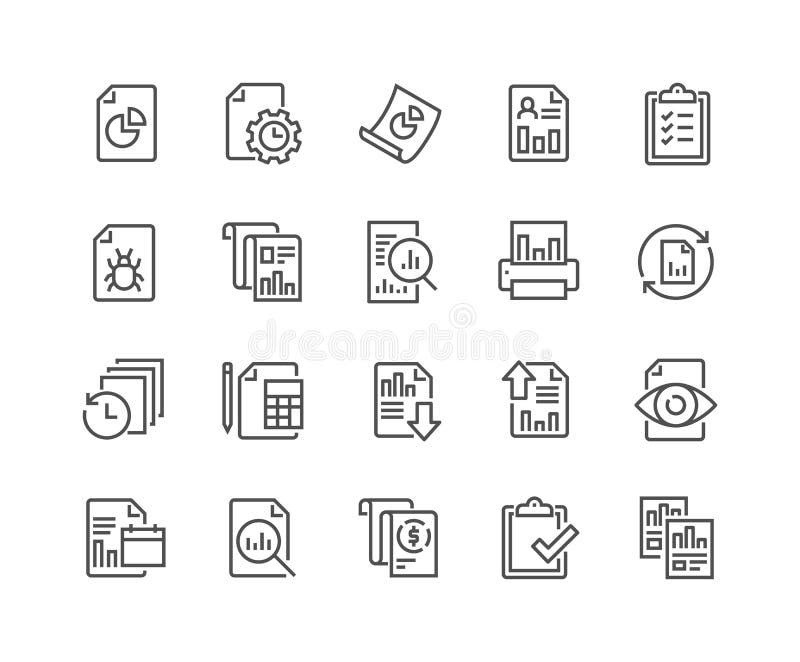 Linje rapportsymboler royaltyfri illustrationer