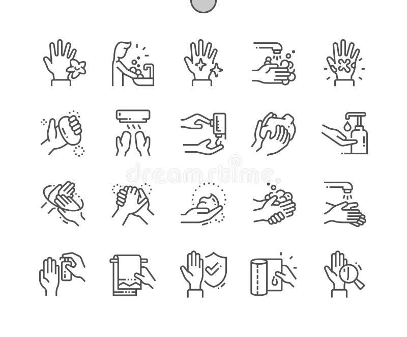 Linje raster 2x för symboler 30 för perfekt vektor för PIXEL för hand hygien Brunn-tillverkad tunn för rengöringsdukdiagram och A stock illustrationer