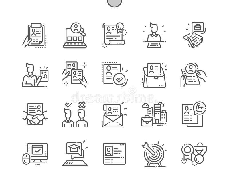 Linje raster 2x för symboler 30 för perfekt vektor för PIXEL för jobb meritförteckning Brunn-tillverkad tunn för rengöringsdukdia stock illustrationer