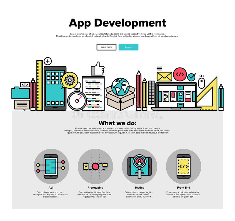 Linje rengöringsdukdiagram för App-utvecklingslägenhet vektor illustrationer